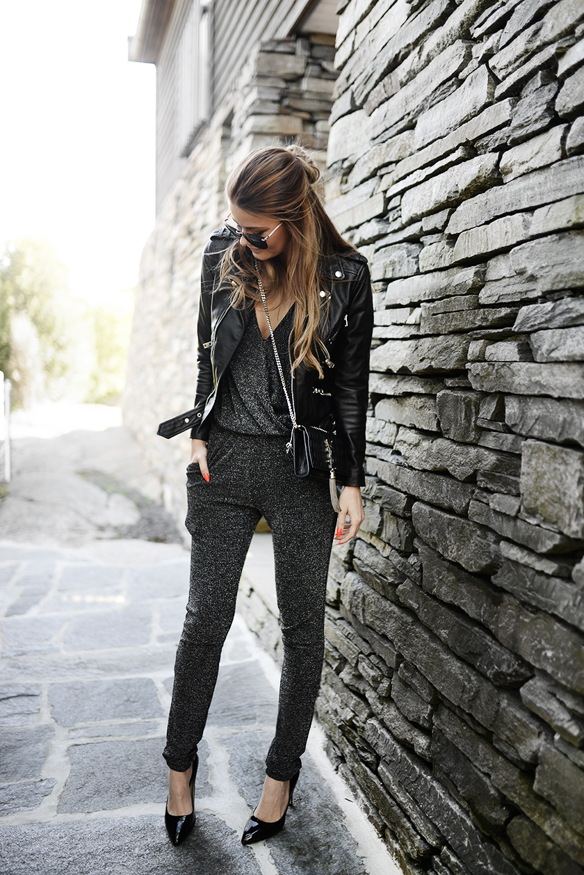 Grey Jumpsuit + Black Leather Jacket