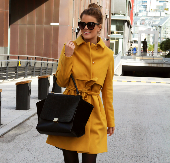 55f7e352 NVRNKD: Norma Coat (Just Female), Topshop: dress, Celine: bag, Isabel  Marant: shoes
